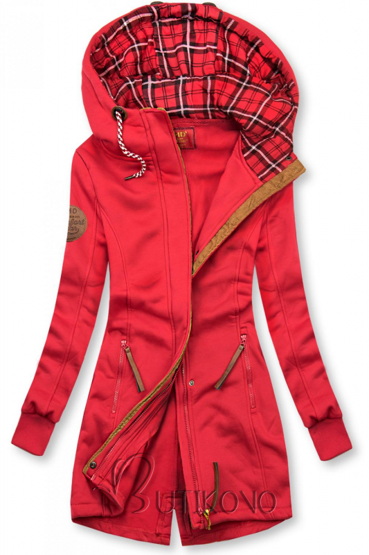 Červená mikina s kapucí v prodlouženém střihu