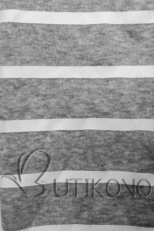 Meruňkovo-šedá pruhovaná tepláková souprava