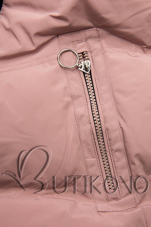 Růžová prošívaná zimní bunda