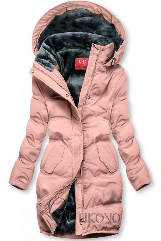 Růžová zimní bunda s plyšovou podšívkou