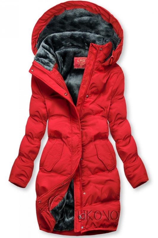 Červená zimní bunda s plyšovou podšívkou