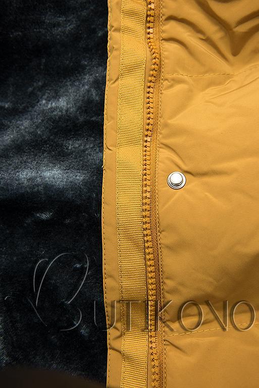 Žlutá zimní bunda s plyšovou podšívkou