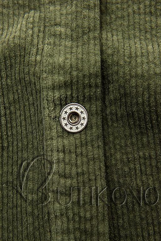 Khaki manšestrová vrchní košile