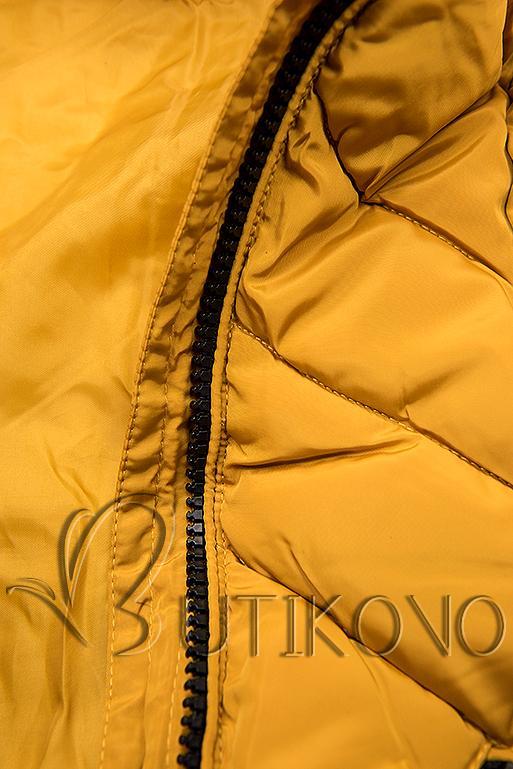 Hořčicově žlutá dlouhá prošívaná bunda