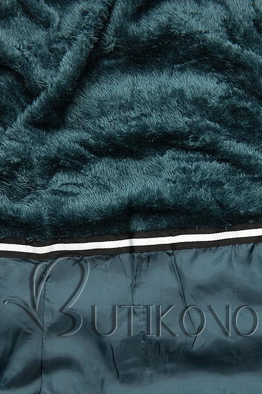 Modrozelená bunda s odepínatelnou kapucí