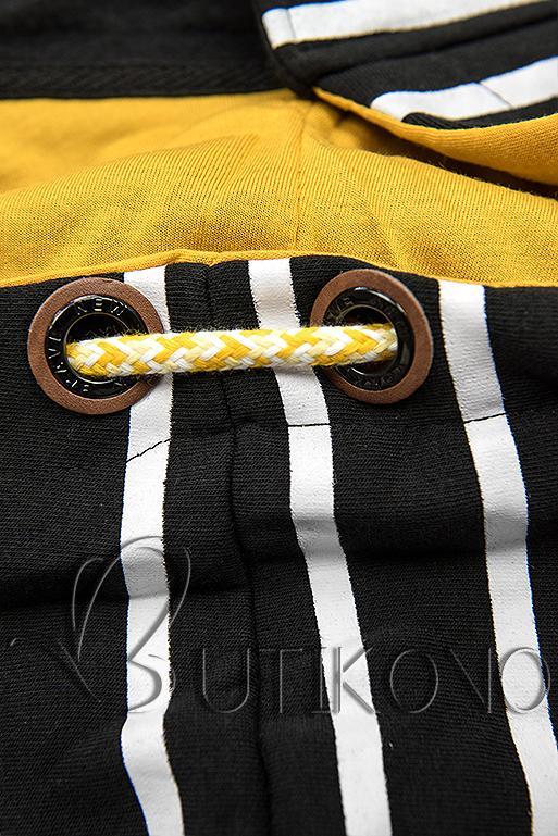 Černá pruhovaná mikina se žlutou kapucí