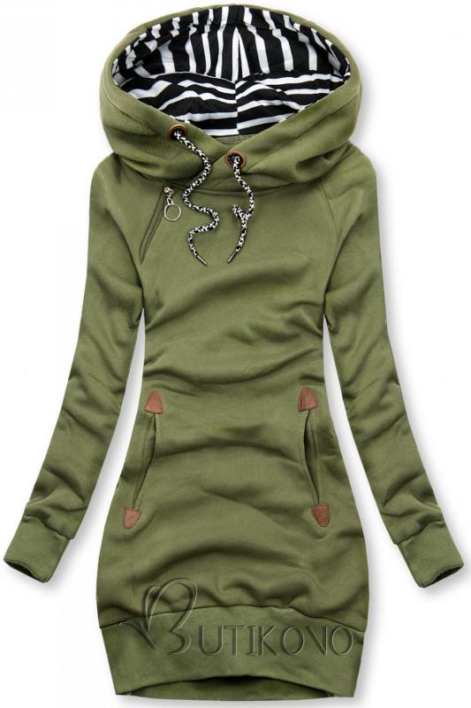Khaki zelená dlouhá mikina s kapucí