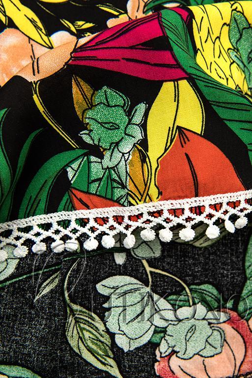 Květinové šortky s krajkou zelené