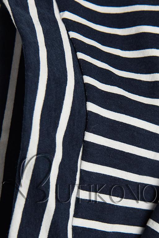 Modro-bílé šaty s pruhy a nášivkou PLUS SIZE III.