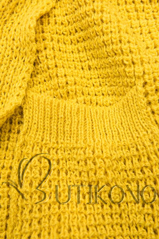 Žlutý asymetrický pletený kardigan