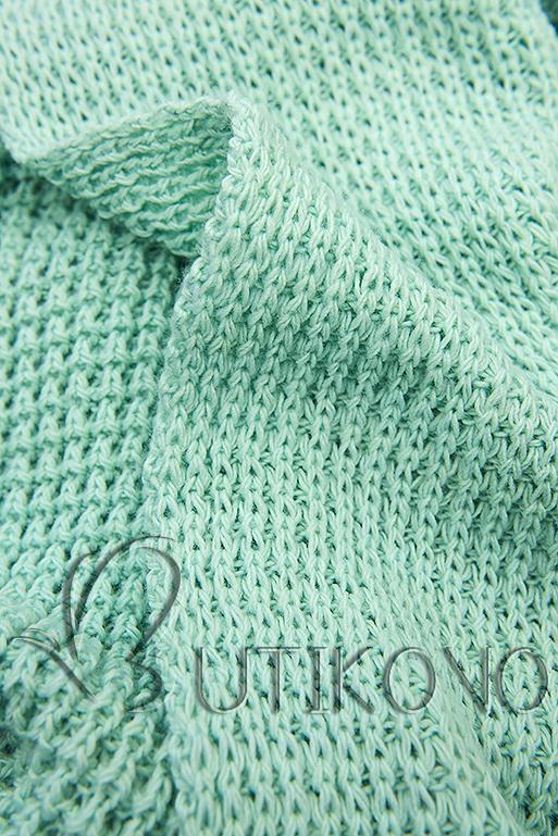 Mátově zelený asymetrický pletený kardigan