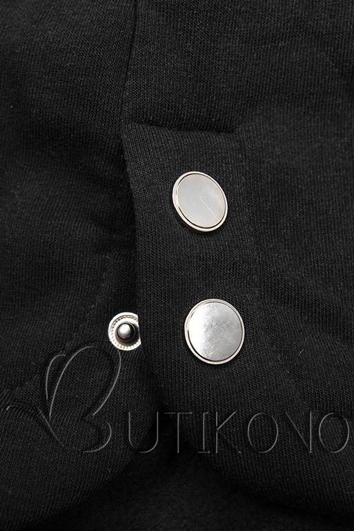 Černá prodloužená mikina s kapucí