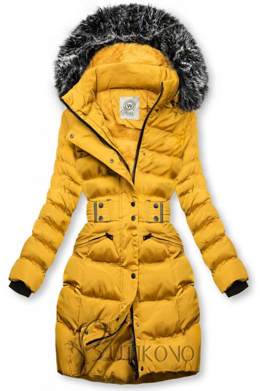 Hořčicově žlutá bunda s odepínatelnou kapucí