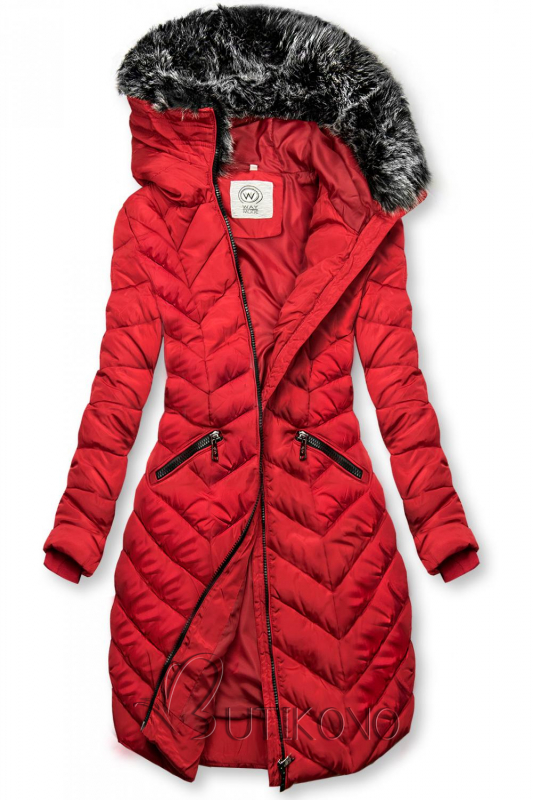 Červená dlouhá prošívaná bunda
