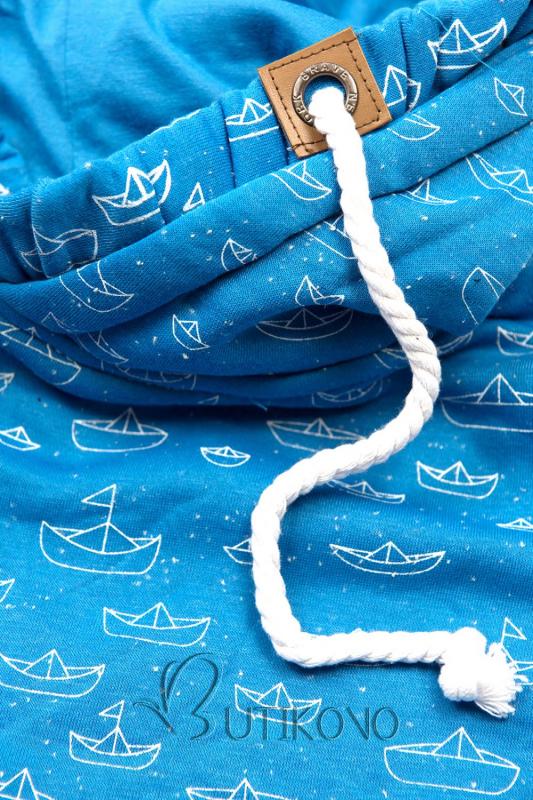 Modrá mikina s námořnickým motivem