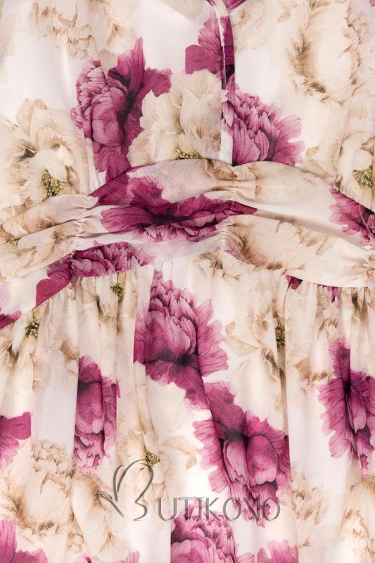 Bílé maxi šaty s květinami Pandora