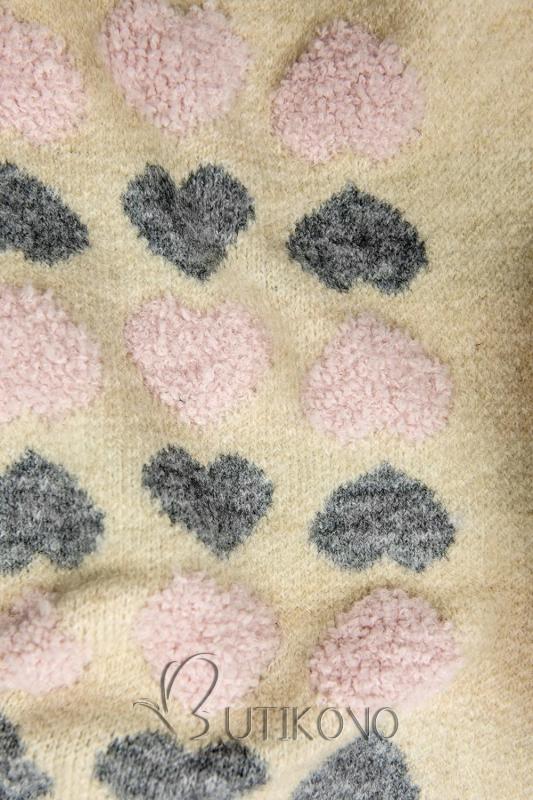 Béžový svetr se srdíčky