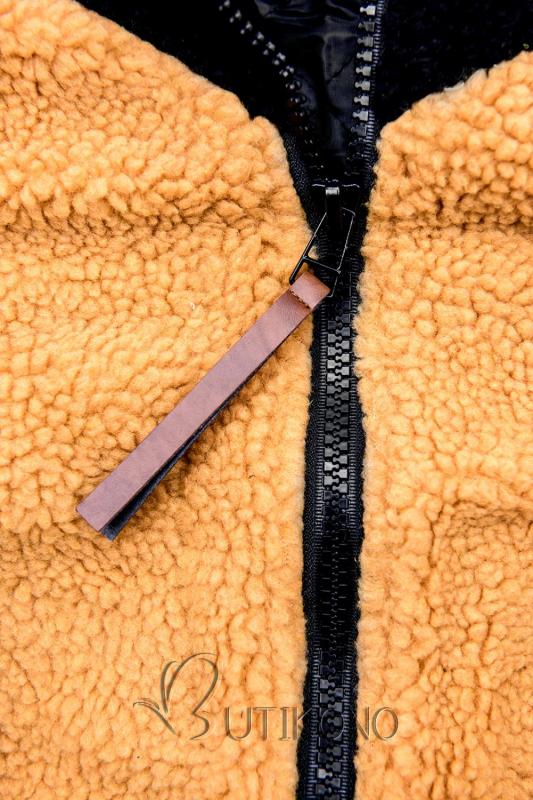 Černo-žlutá kožešinová mikina
