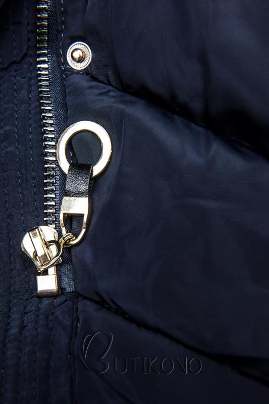 Modrá zimní bunda s teplým plyšovým límcem