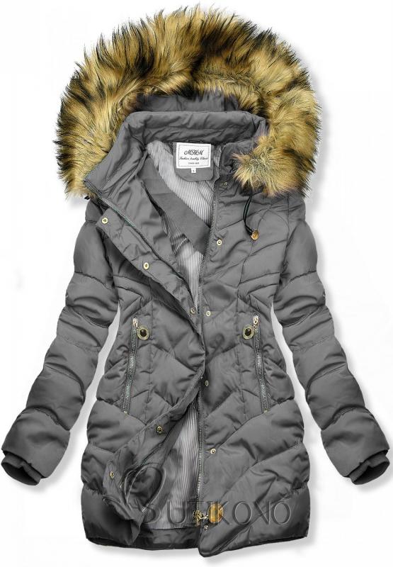 Šedá prošívaná bunda na podzim/zimu