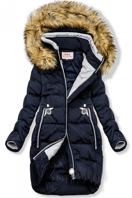 Modrá prodloužená bunda s kapucí