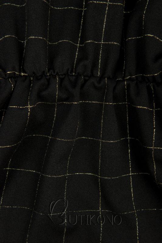 Černé šaty se zlatým károvaným potiskem