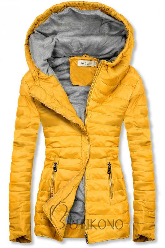Žlutá lehká prošívaná bunda