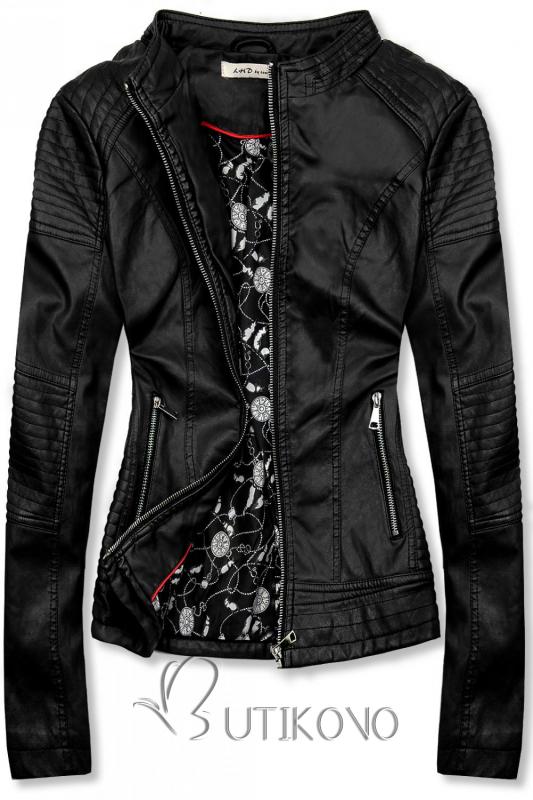 Černá prošívaná koženková bunda