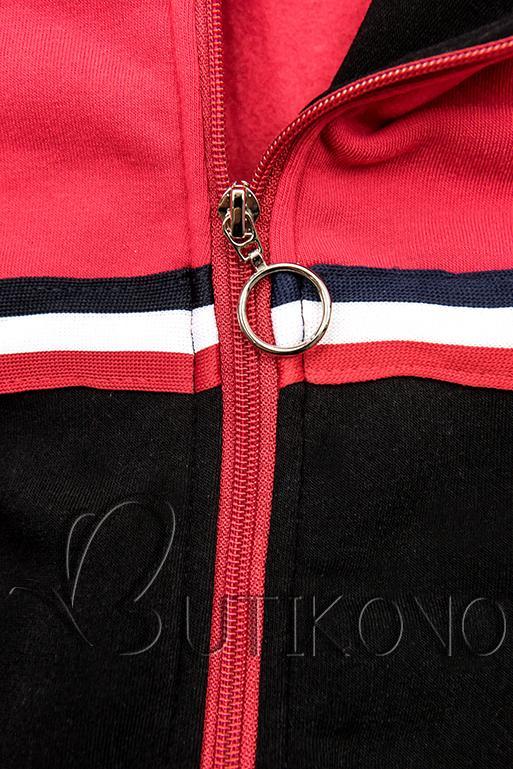 Prodloužená mikina černá/červená