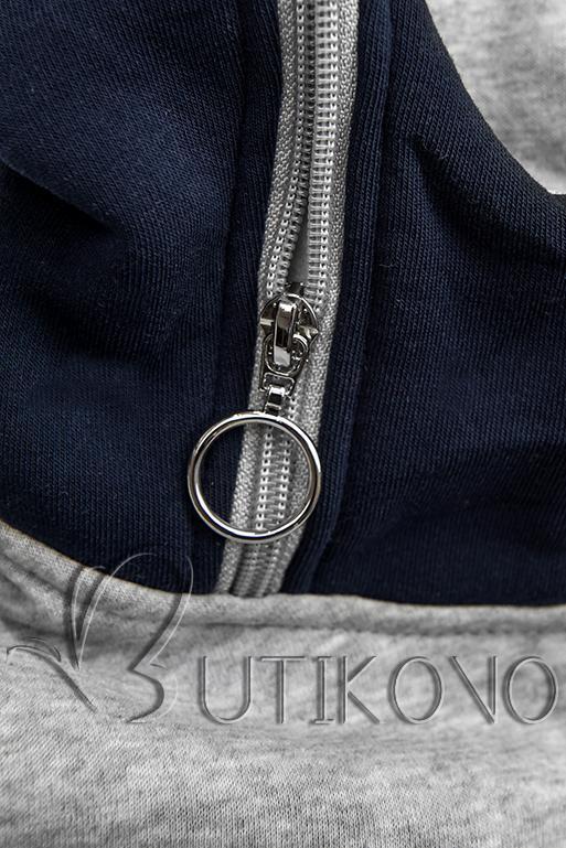 Prodloužená mikina modrá/šedá