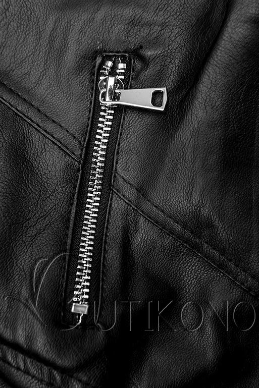 Koženková bunda v černé barvě