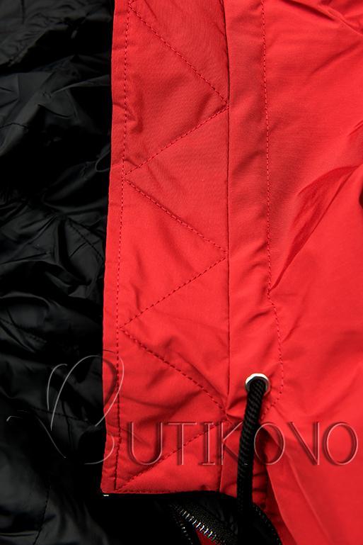 Oboustranná jarní parka červená/černá