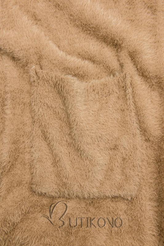 Camel hnědý dlouhý kardigan