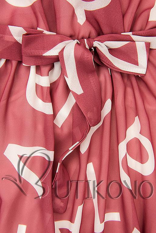 Tmavě růžové midi šaty s potiskem písmen