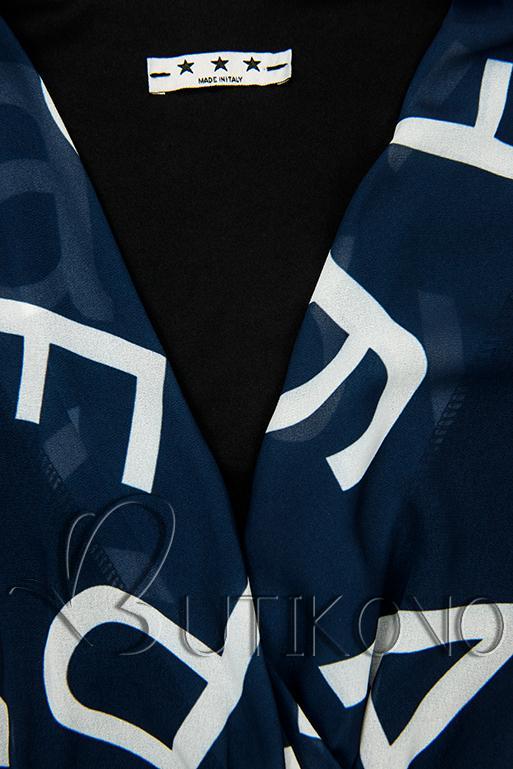 Tmavě modré midi šaty s potiskem písmen