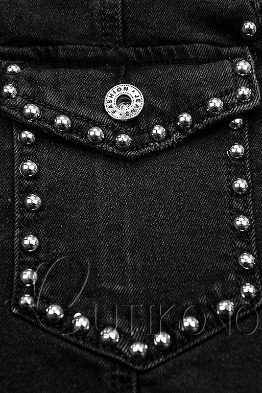 Černá jeans sukně se stříbrnými nýty