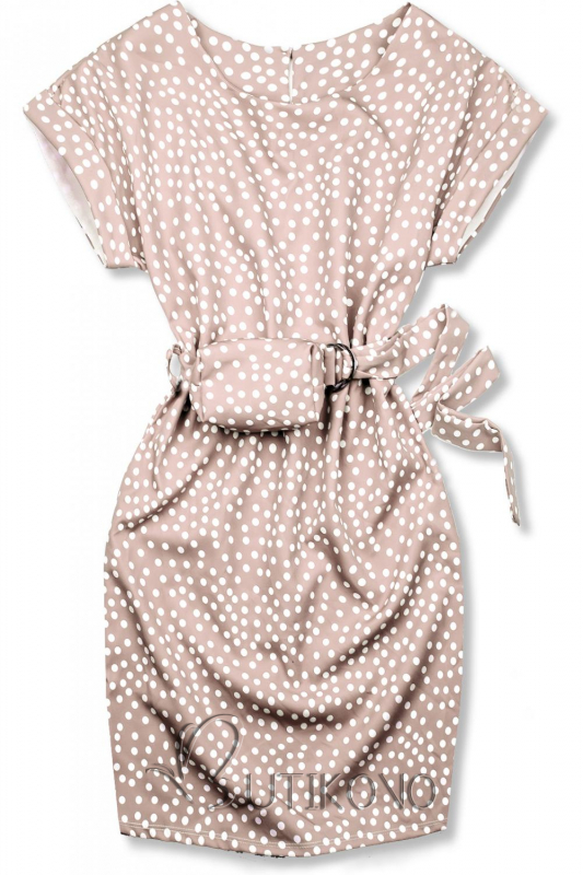 Světle růžové tečkované šaty s taškou v pase
