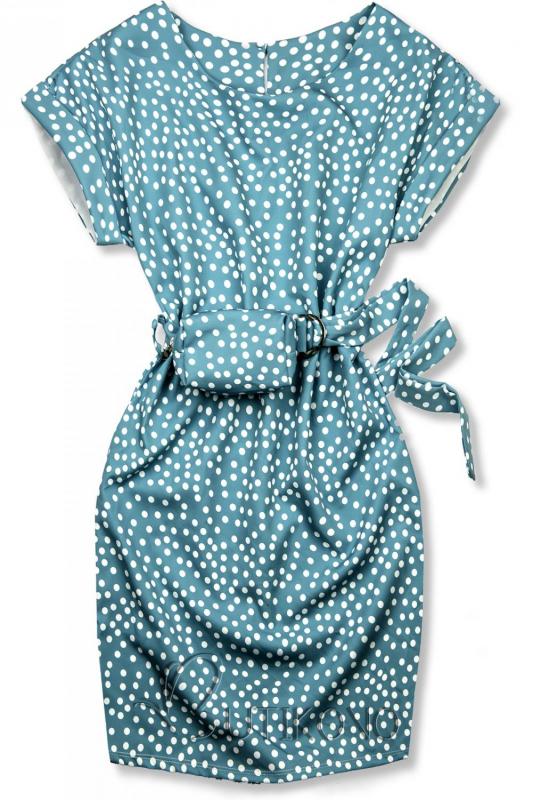 Modré tečkované šaty s taškou v pase