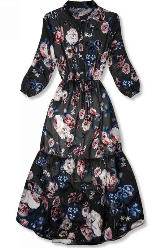 Květinové midi šaty černé