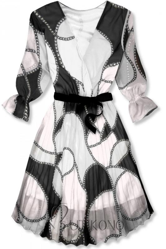 Vzorované midi šaty černo-bílé