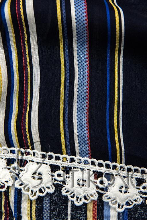Tmavě modré pruhované šortky s krajkou