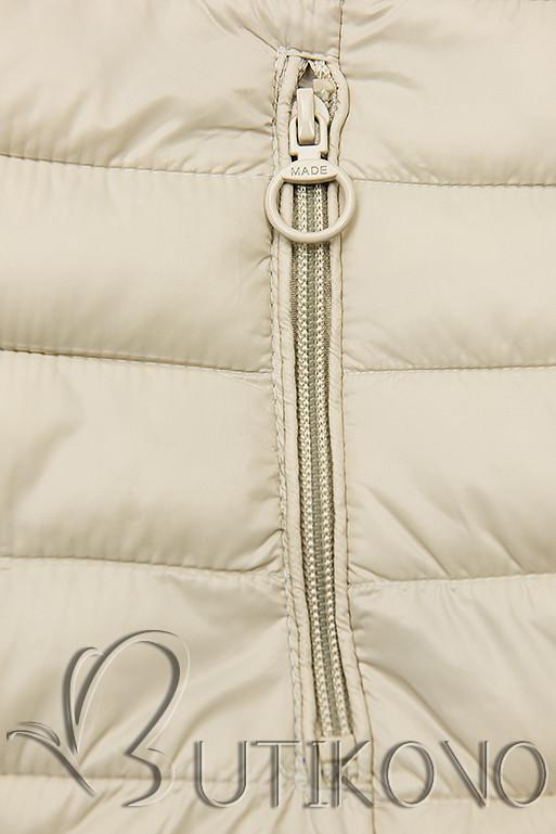 Oboustranná bunda s květinovým futrem béžová