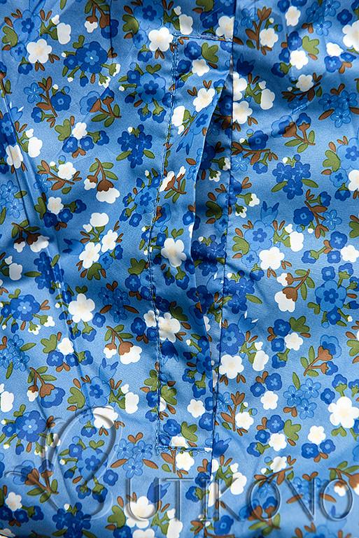 Oboustranná bunda s květinovým futrem modrá
