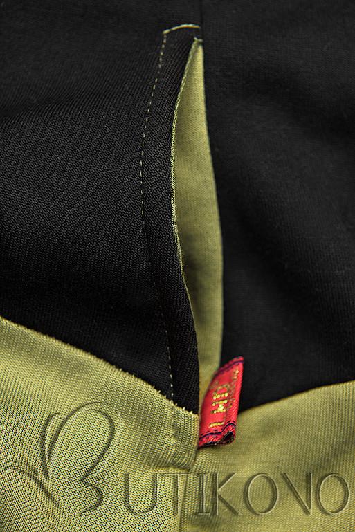 Tepláková souprava s květinovou podšívkou khaki/černá