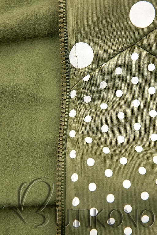 Tečkovaná tepláková souprava khaki/černá