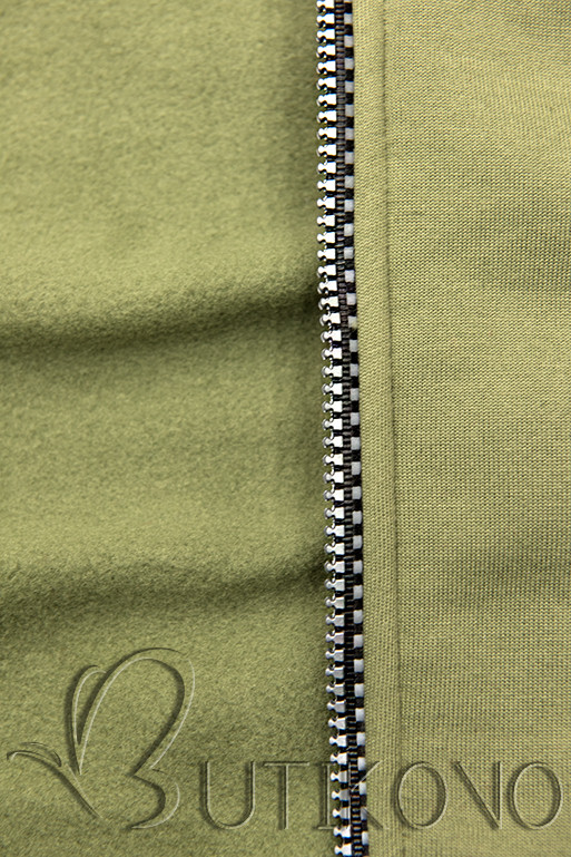 Tepláková souprava s kapucí khaki/černá