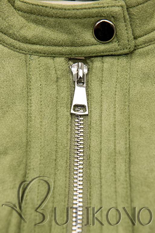 Pistáciově zelená semišová bunda