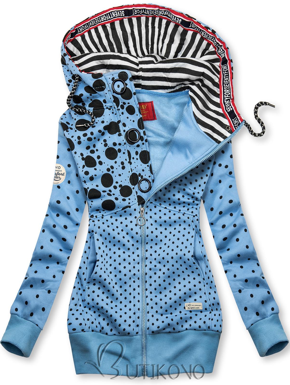 Modrá prodloužená tečkovaná mikina