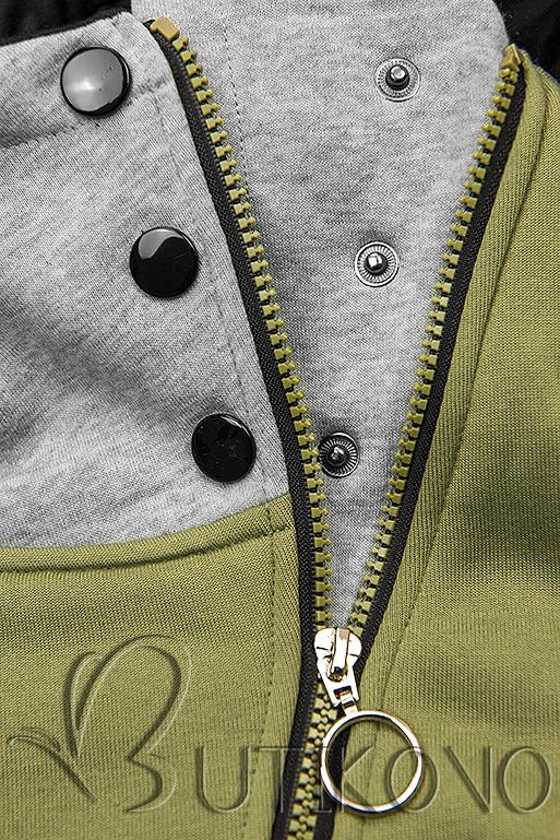 Khaki mikina se šikmým zipem