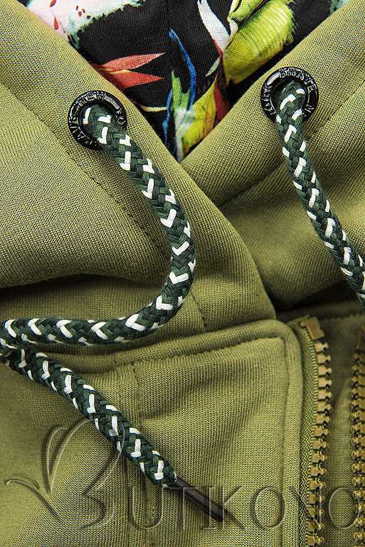 Khaki mikina v asymetrickém střihu